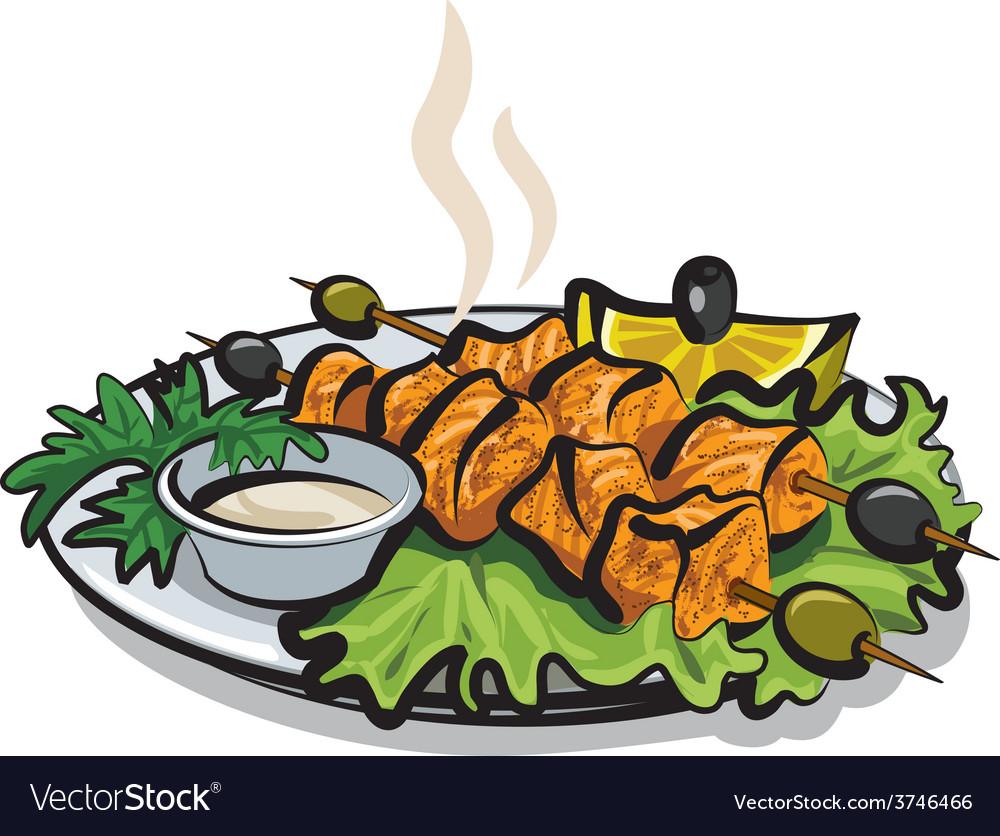 Salmon kebab vector image