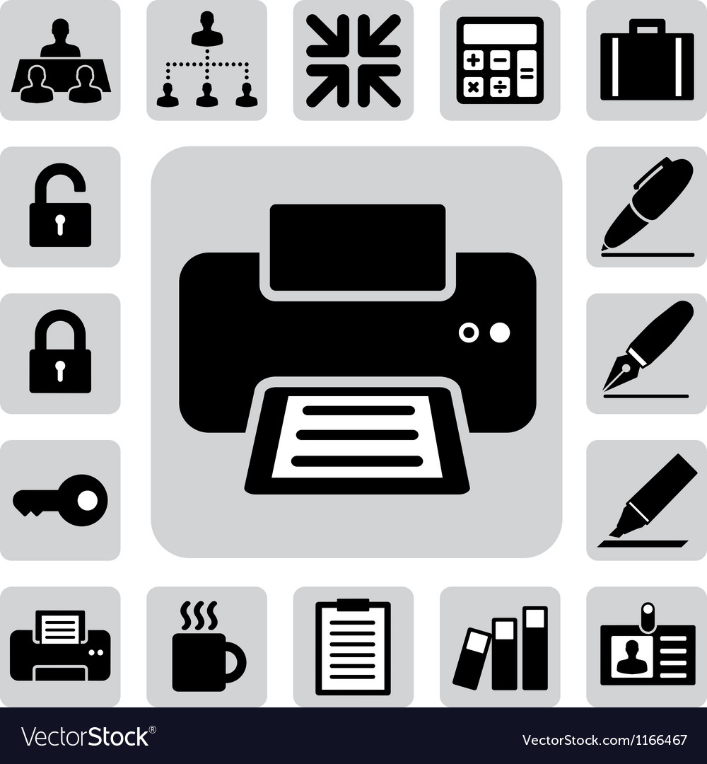 Business and office icons set eps 10 vector image
