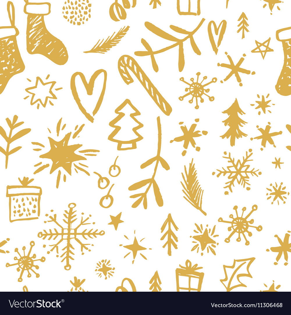 Christmas Seamless Pattern Hand drawn design vector image