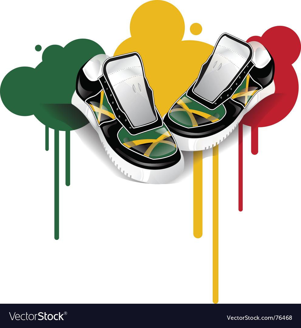 Jamaican sneakers vector image