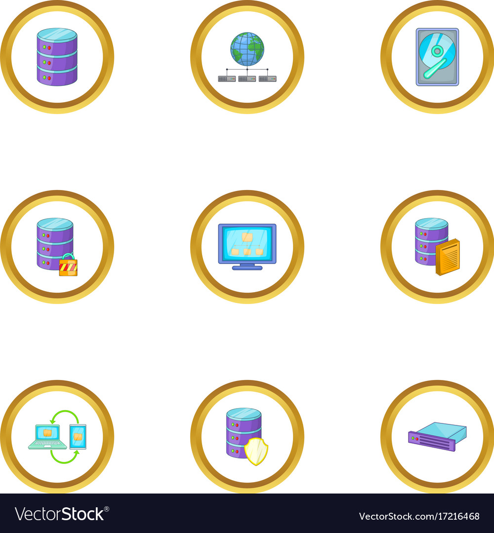 Reliable data storage icons set cartoon style vector image