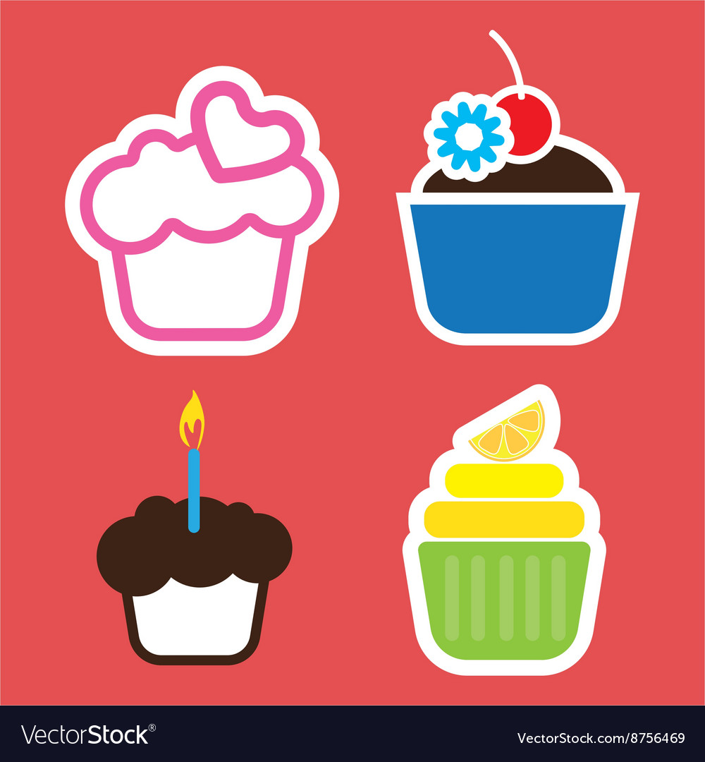 Set of four colored cakes Royalty Free Vector Image