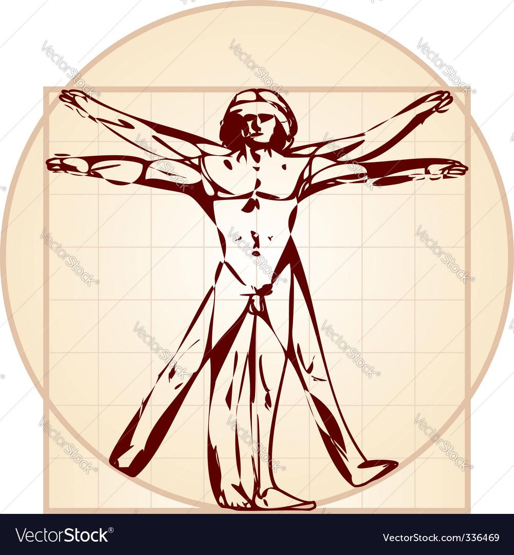 Vitruvian man stylized version vector image