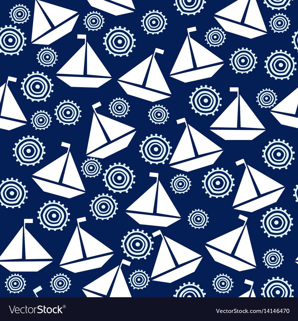 Marine theme seamless with cartoon boats vector image