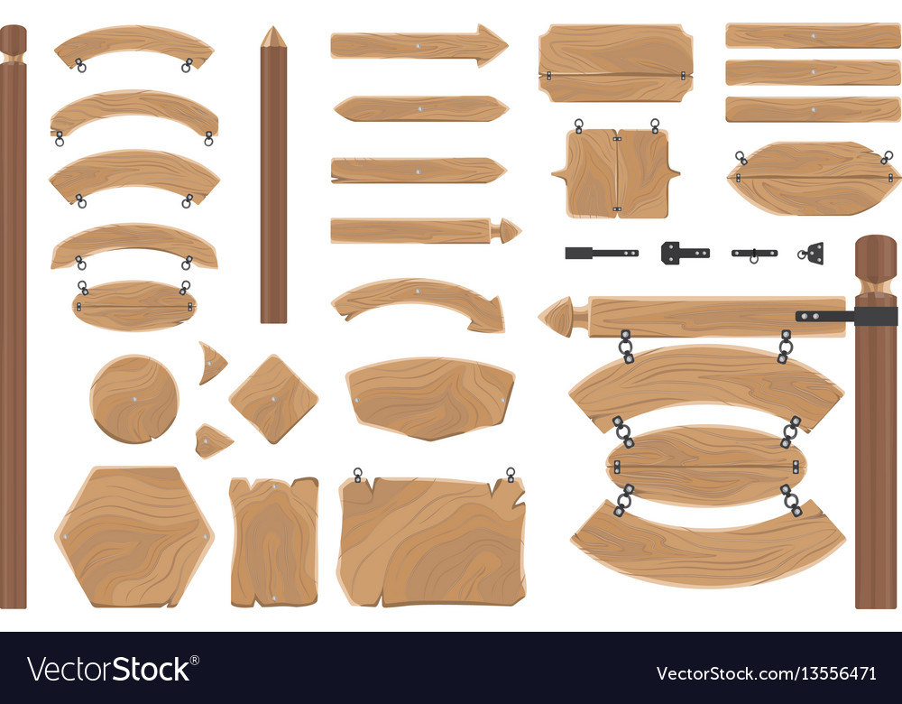 Cartoon wood banners boards isolated on white vector image
