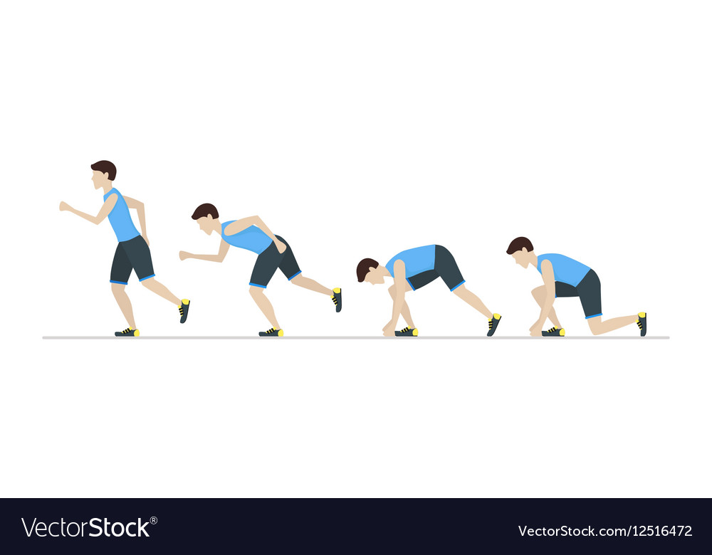 Running Man Step Positions Set vector image