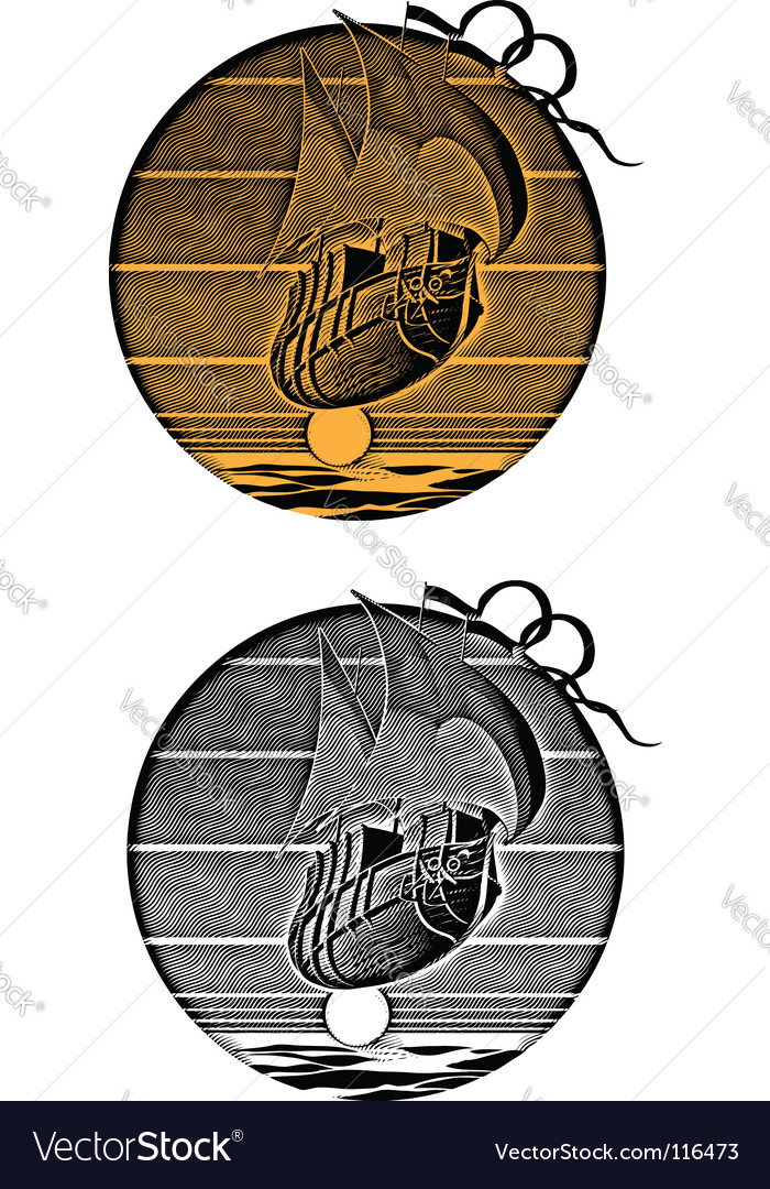 Sunset engraving vector image