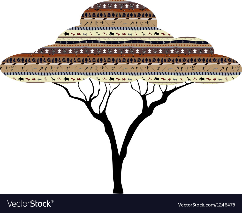 Abstract tree African savanna vector image