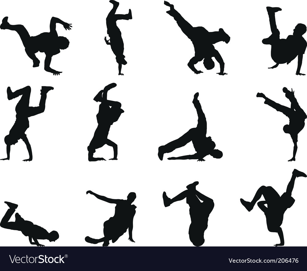 Breakdancer silhouettes vector image