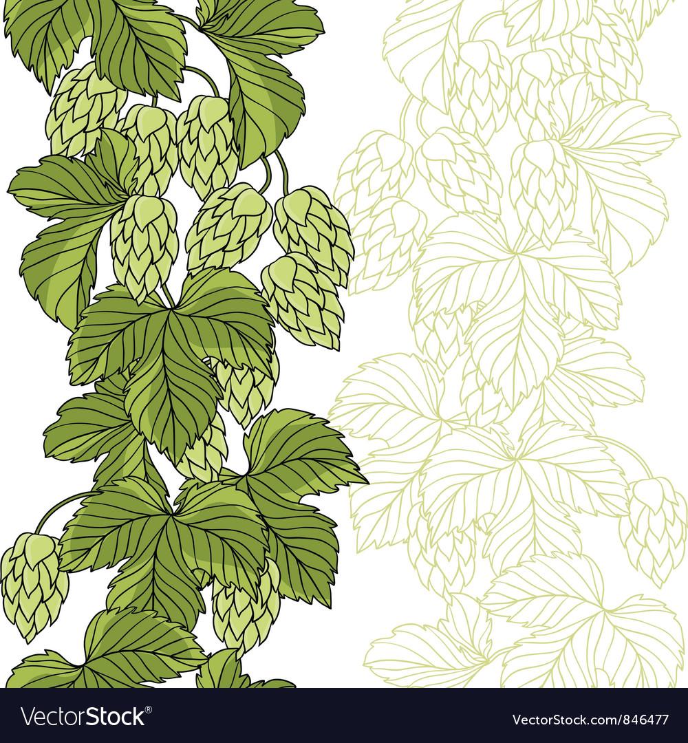 Hop Ornament On Green Grunge Background vector image
