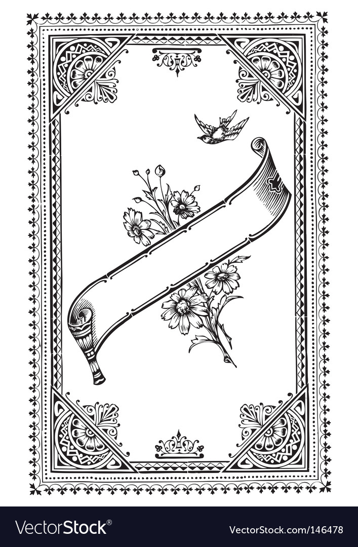 Antique frame engraving vector image