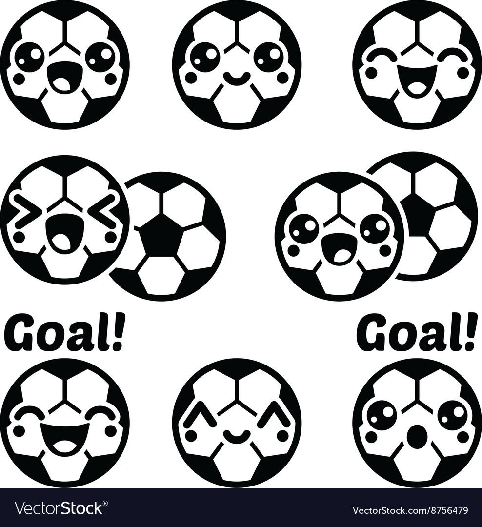 Kawaii football or soccer ball - cute character ic