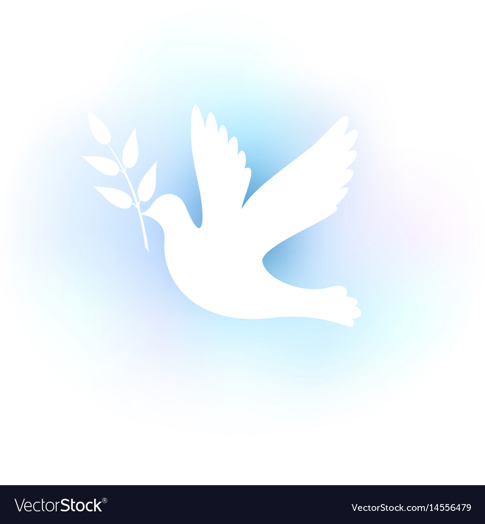 White silhouette of a dove on a blue background vector image
