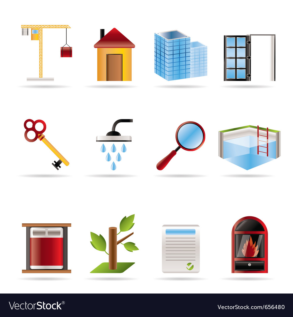 Realistic real estate icons vector image