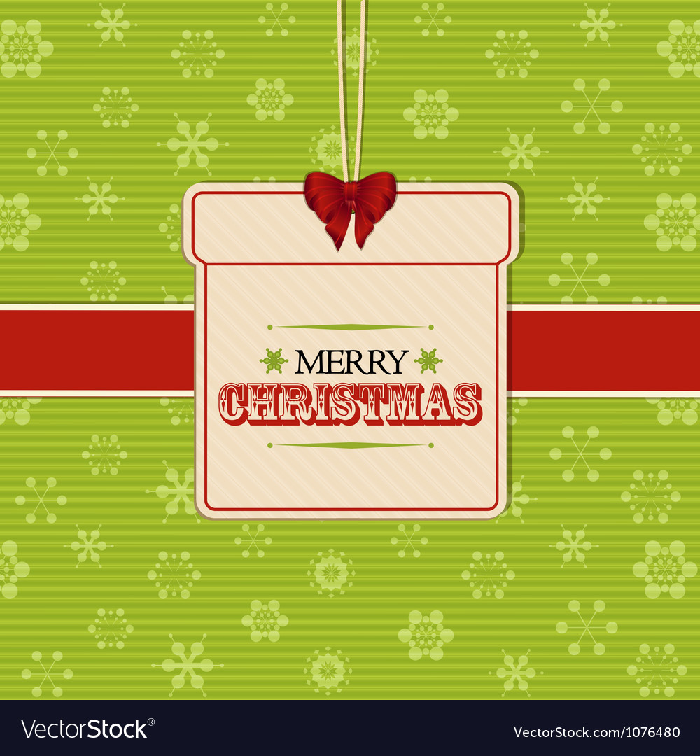 Christmas present label background vector image