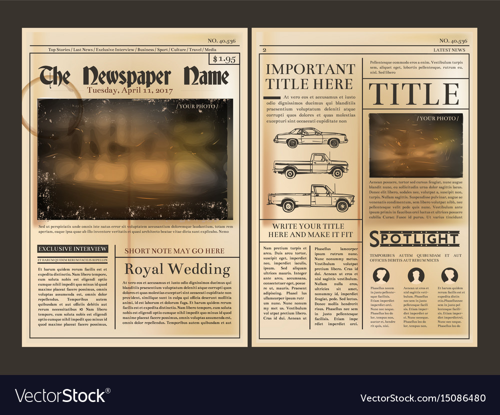 layout design front page of vintage newspaper vector image, Powerpoint templates
