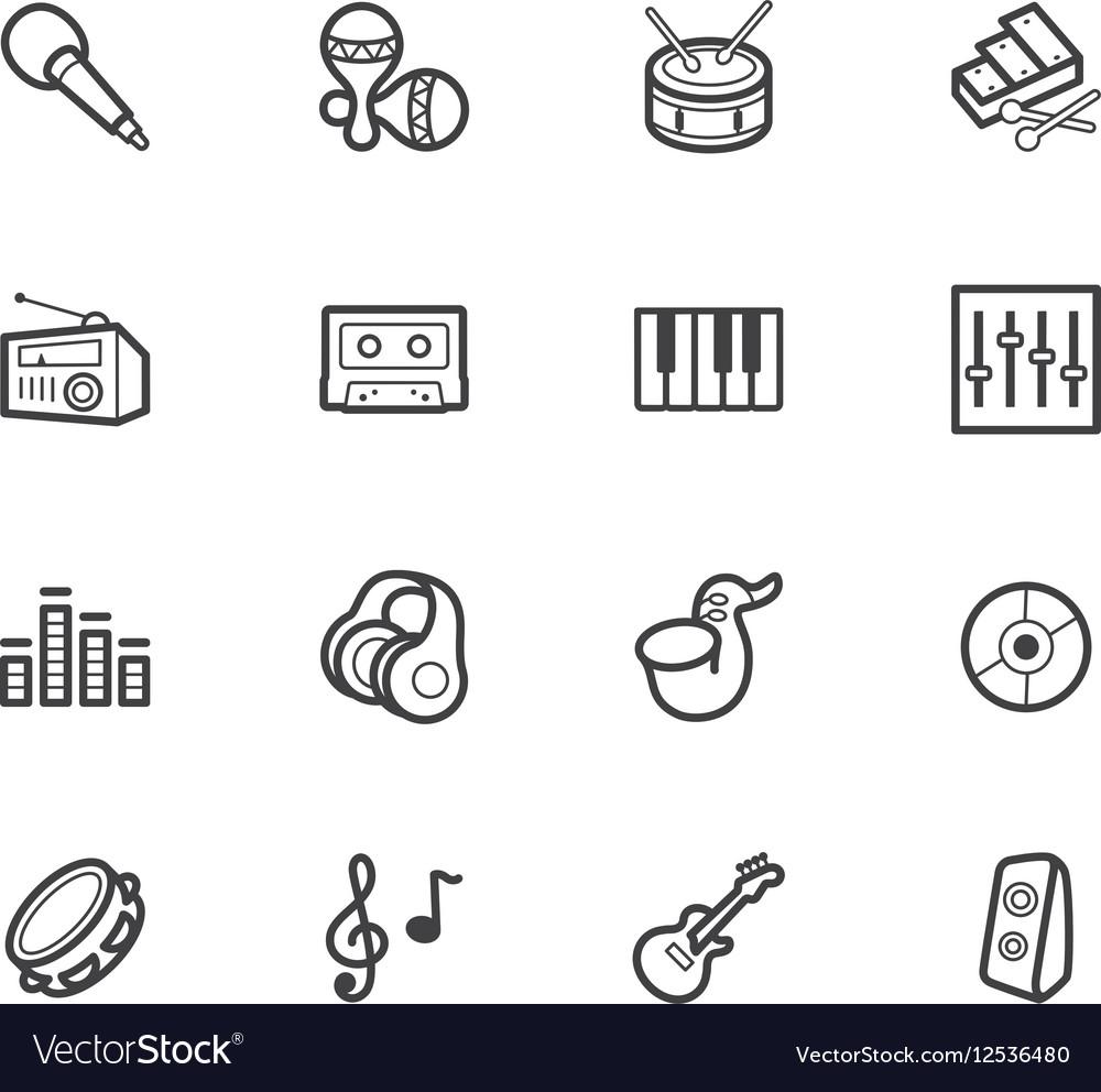Music element black icon set on white background vector image