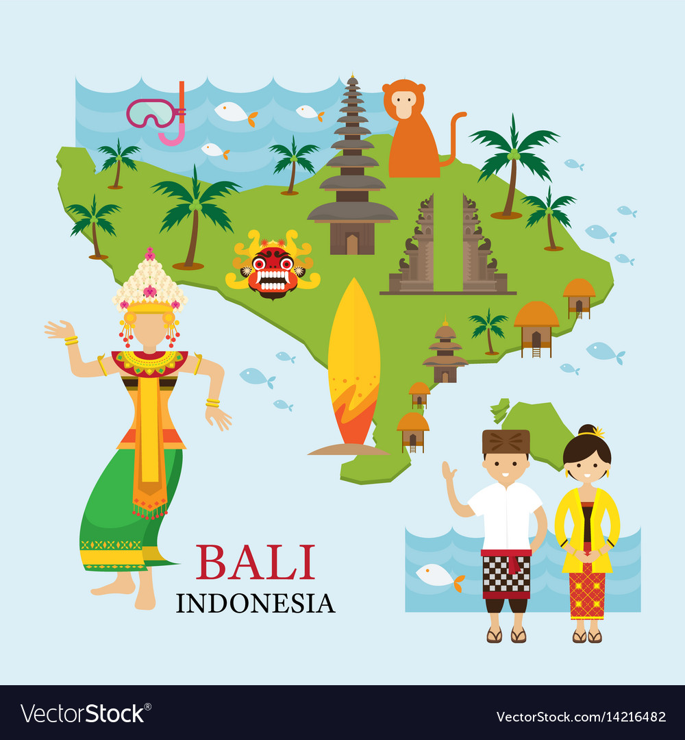 Bali Indonesia Map With Travel And Attraction Vector Image - Indonesia map