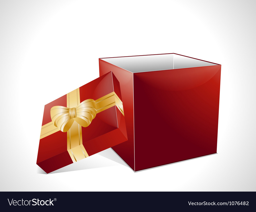 Christmas gift box in red vector image