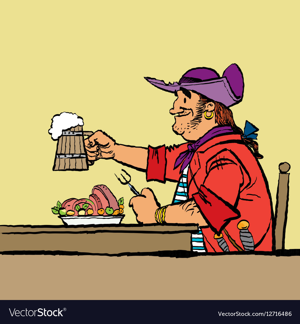 Brave pirate is eating in the tavern vector image