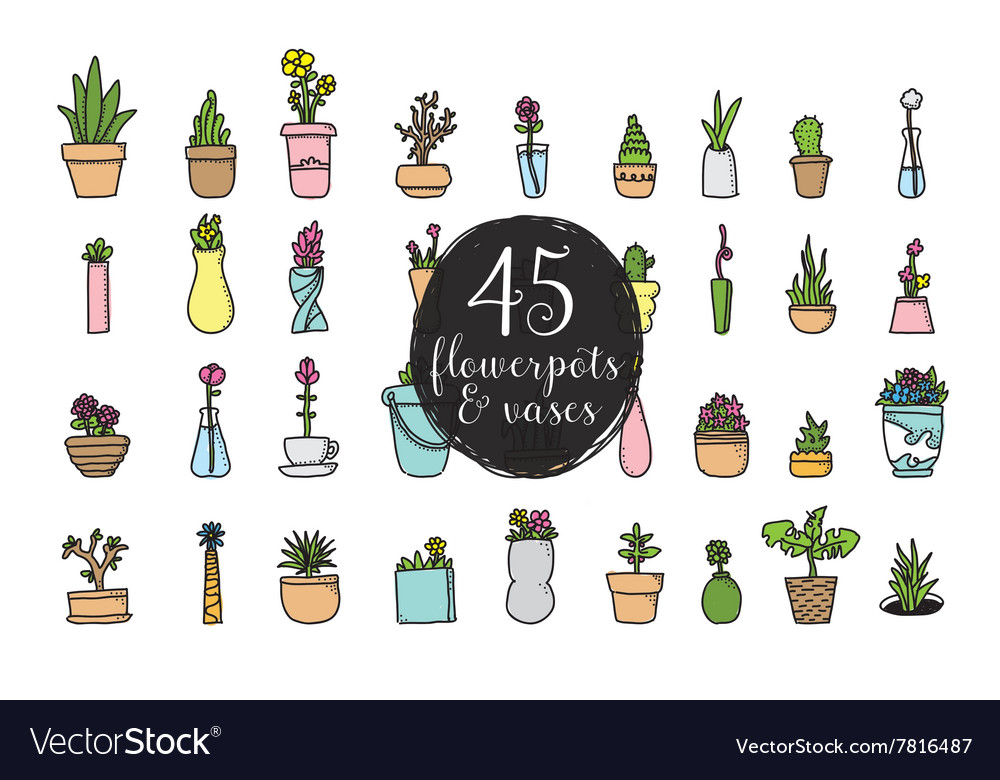 Set of 45 flower pots and vases Hand drawn vector image