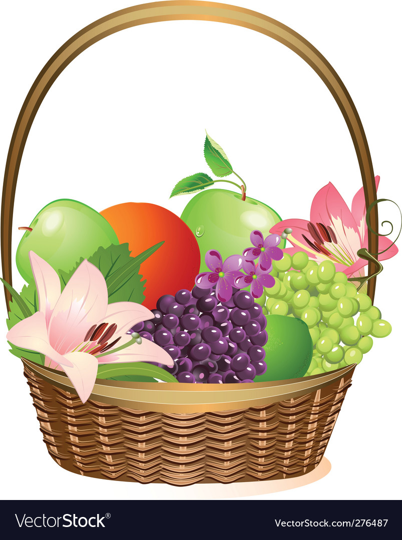 Wicker fruit basket with flowers vector image