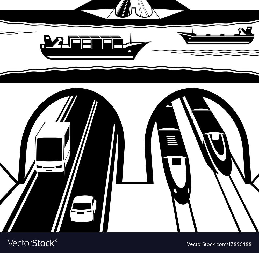 Railway and highway tunnel under water vector image