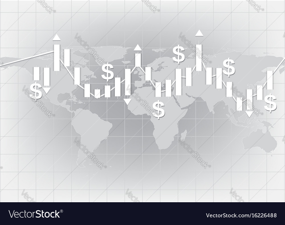 White candlestick chart showing trend background vector image