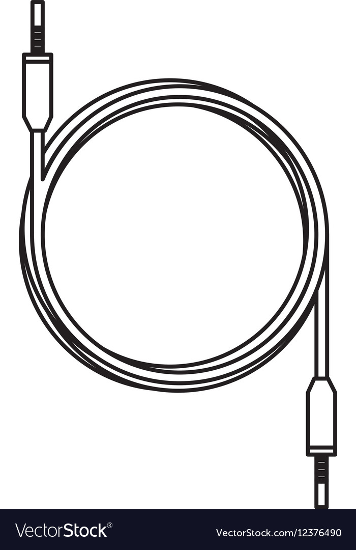Audio plug cable isolated icon vector image