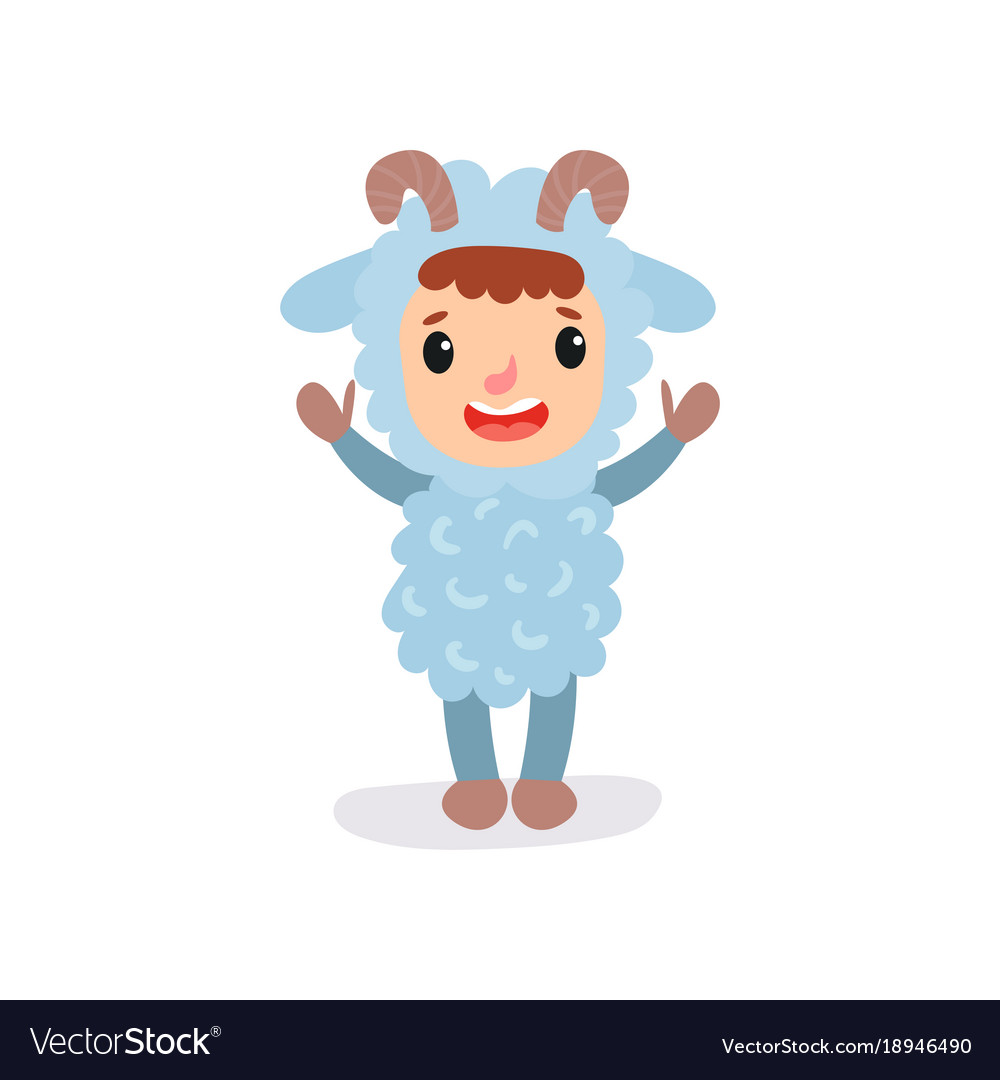 Cheerful kid in blue sheep jumpsuit with little vector image