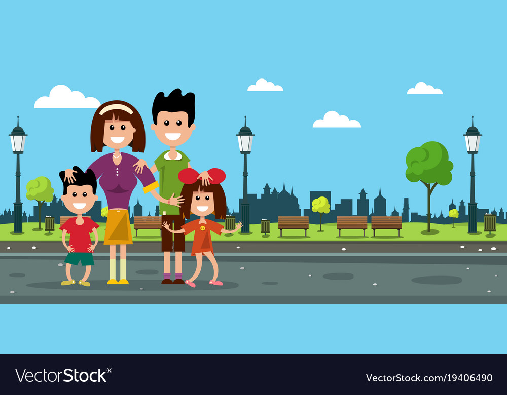 Happy family in city prk flat design vector image