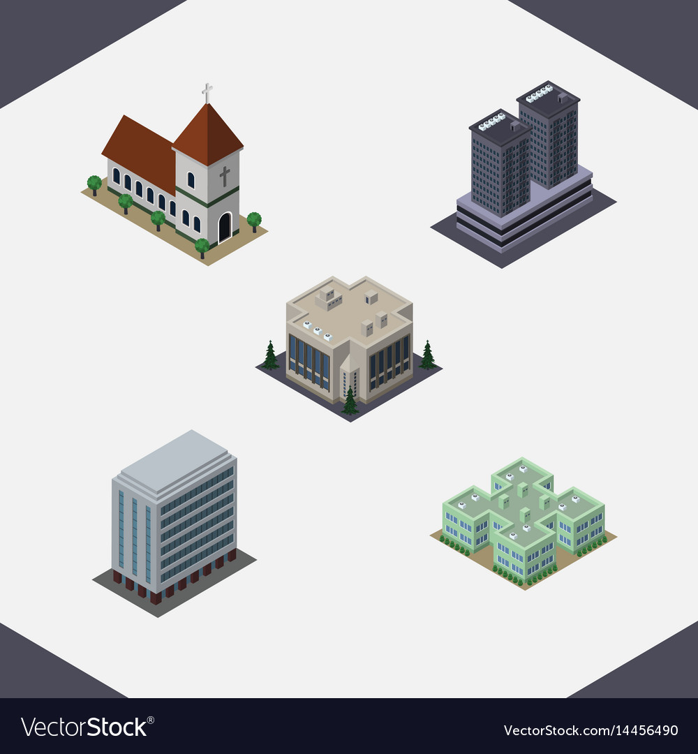 Isometric architecture set of company tower vector image