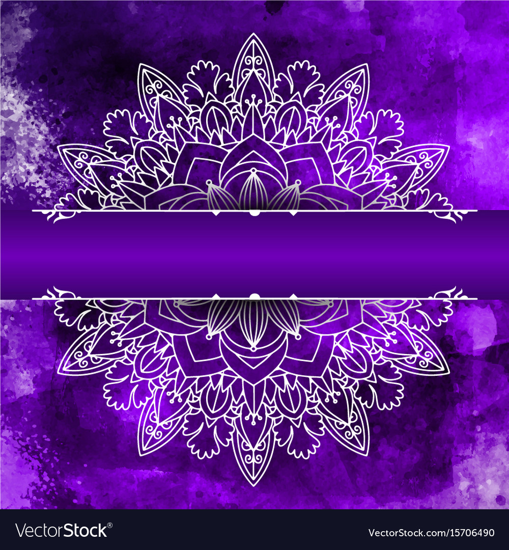 Mandala design on a watercolour background vector image