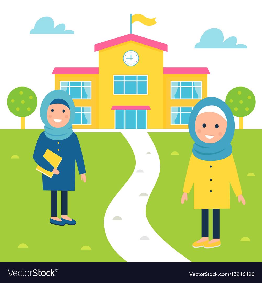Muslim girls going to school vector image