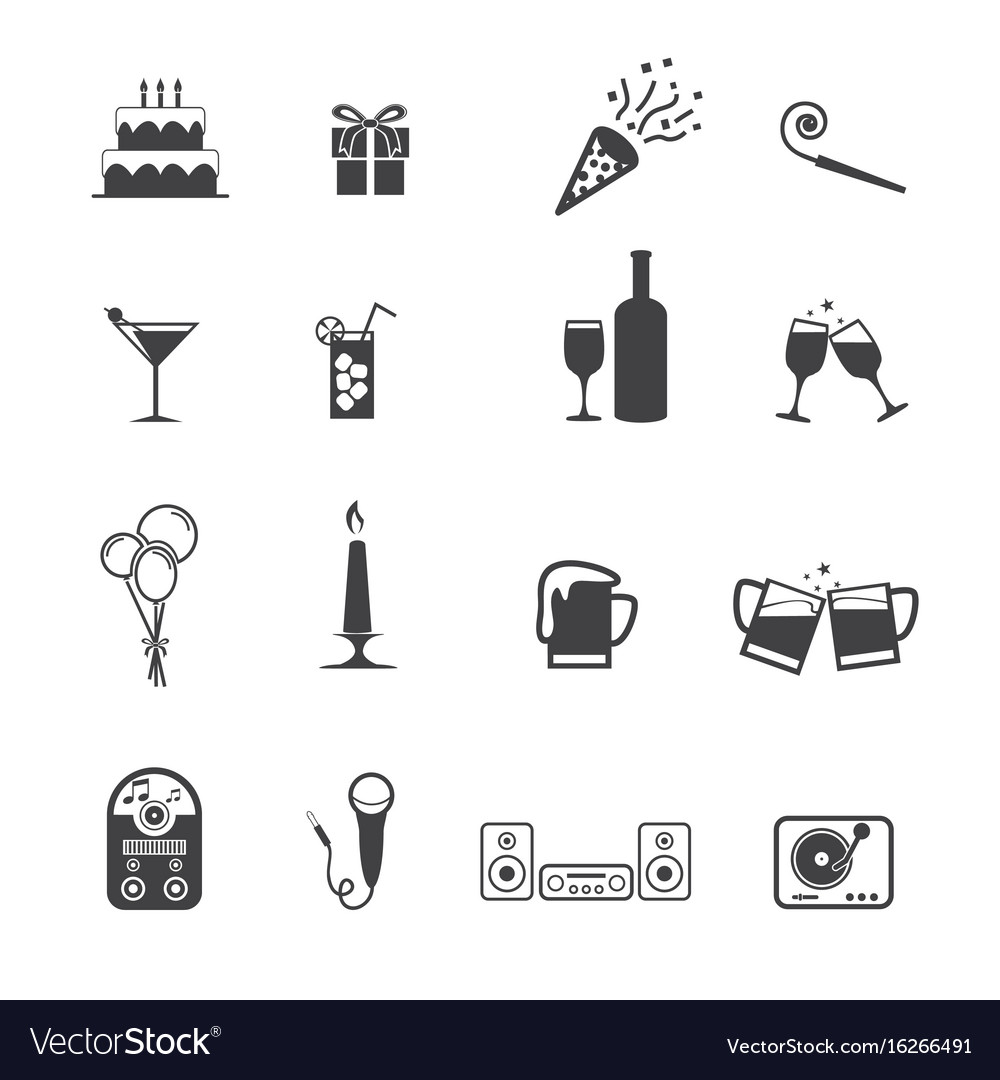 Christmas new year party icon set vector image