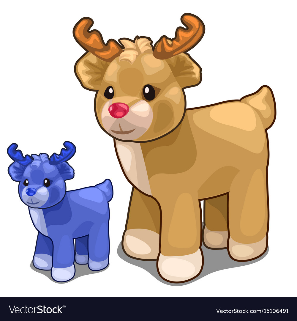Two deer toys of different colors blue and brown vector image