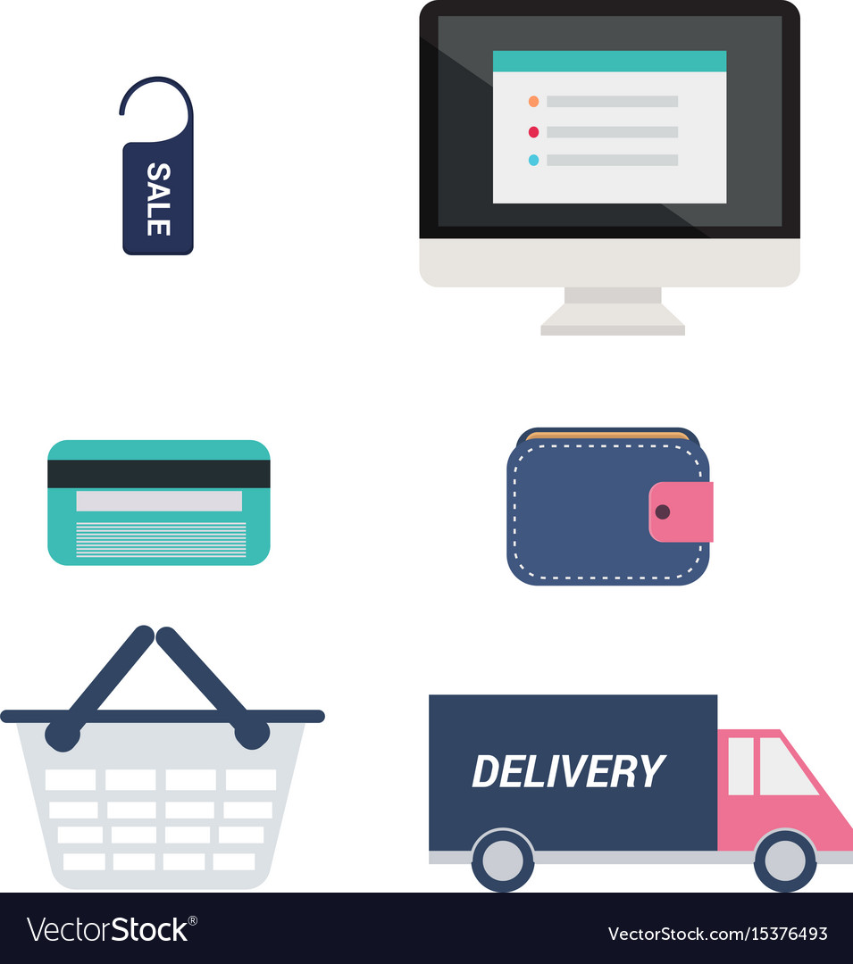 E-commerce icons set computer with price tag vector image