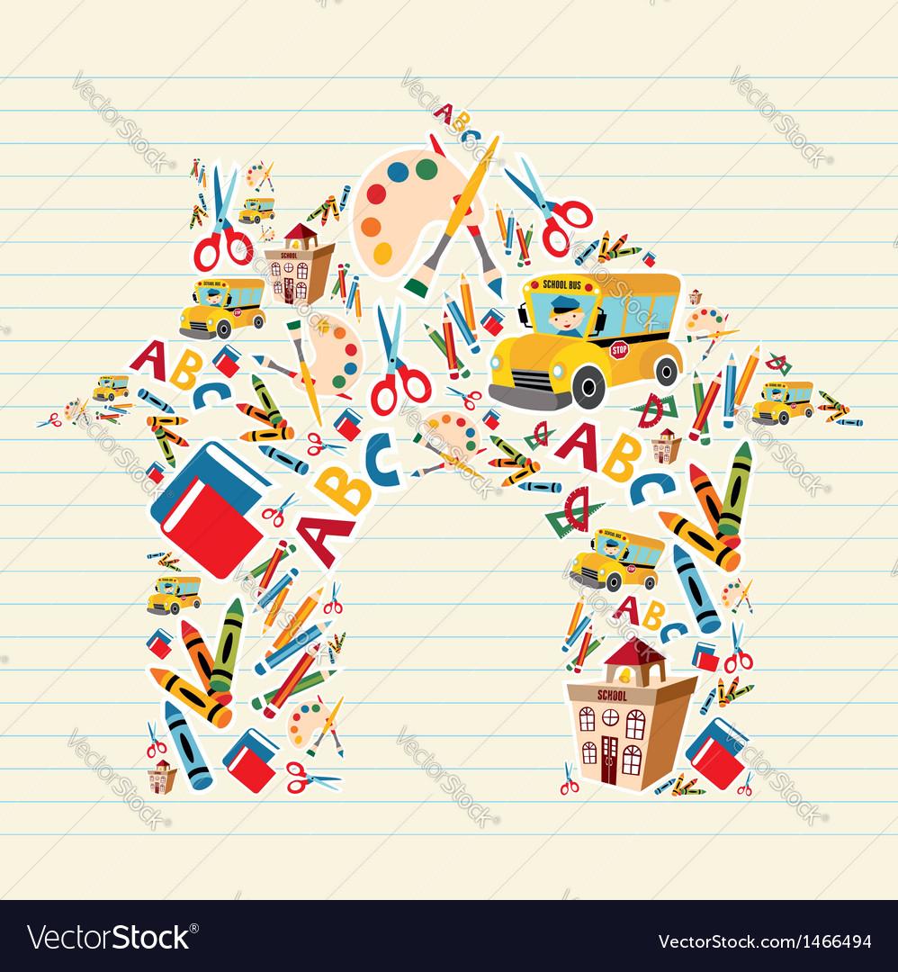 School stationery shape vector image