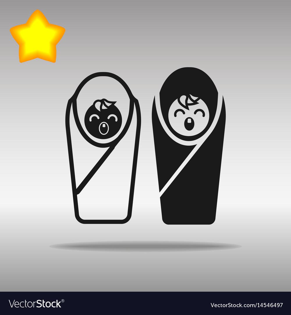 Two baby black icon button logo symbol concept vector image