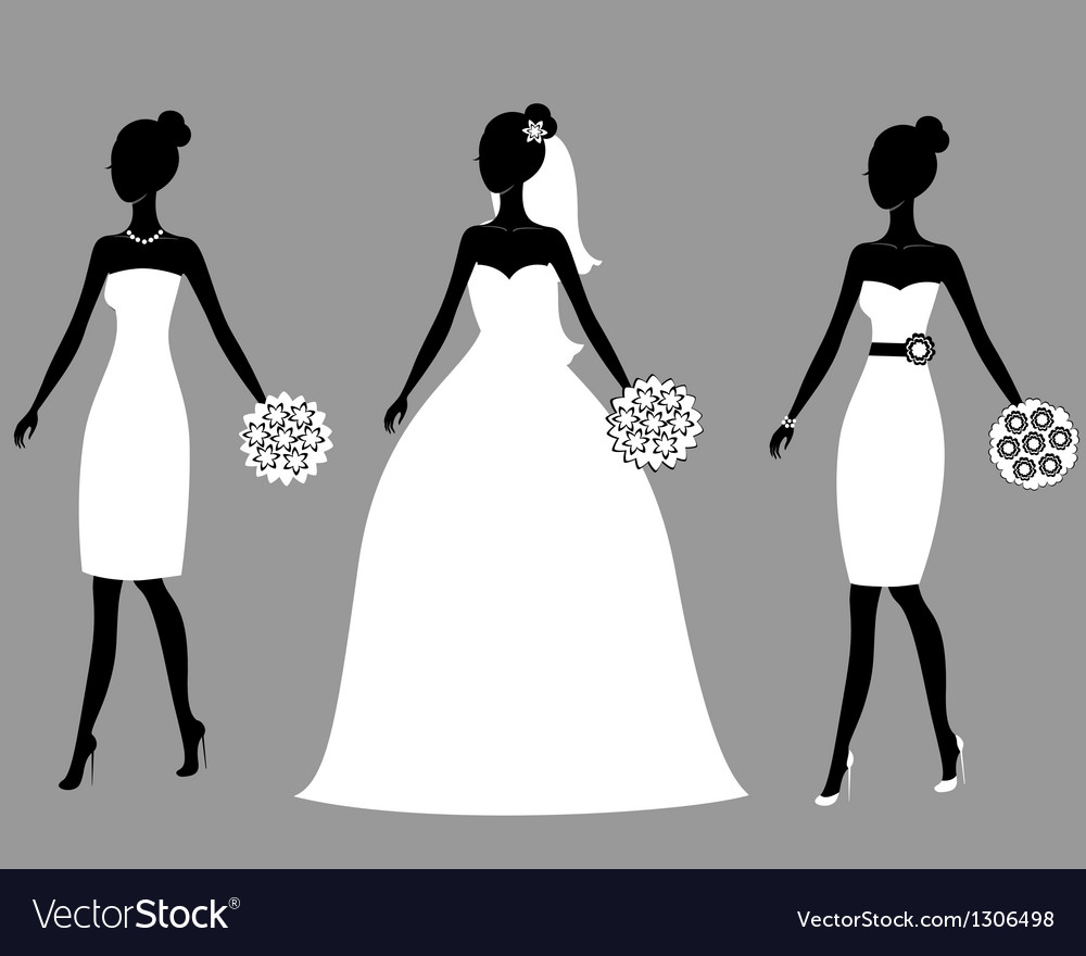 Silhouettes of beautiful young brides vector image