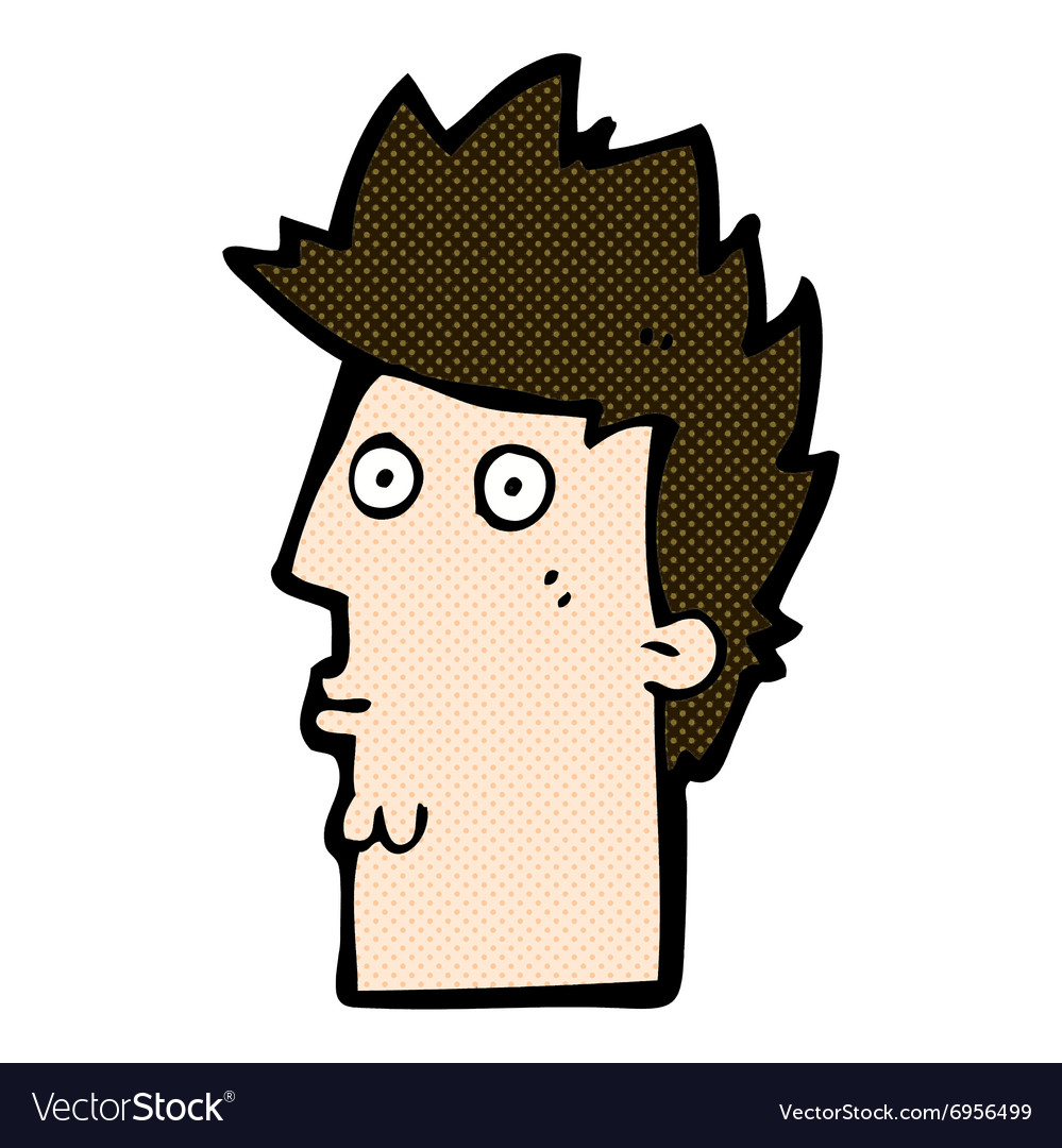 Comic cartoon surprised face vector image