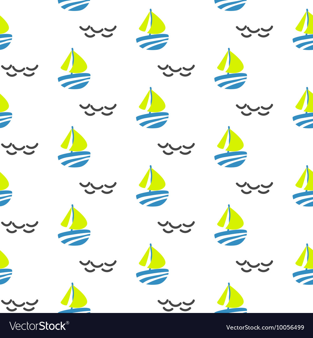 Sailboat seamless kid pattern in vector image