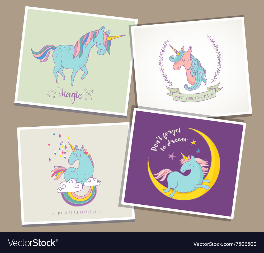 Cute magic unicon and rainbow greeting cards vector image kristyandbryce Images