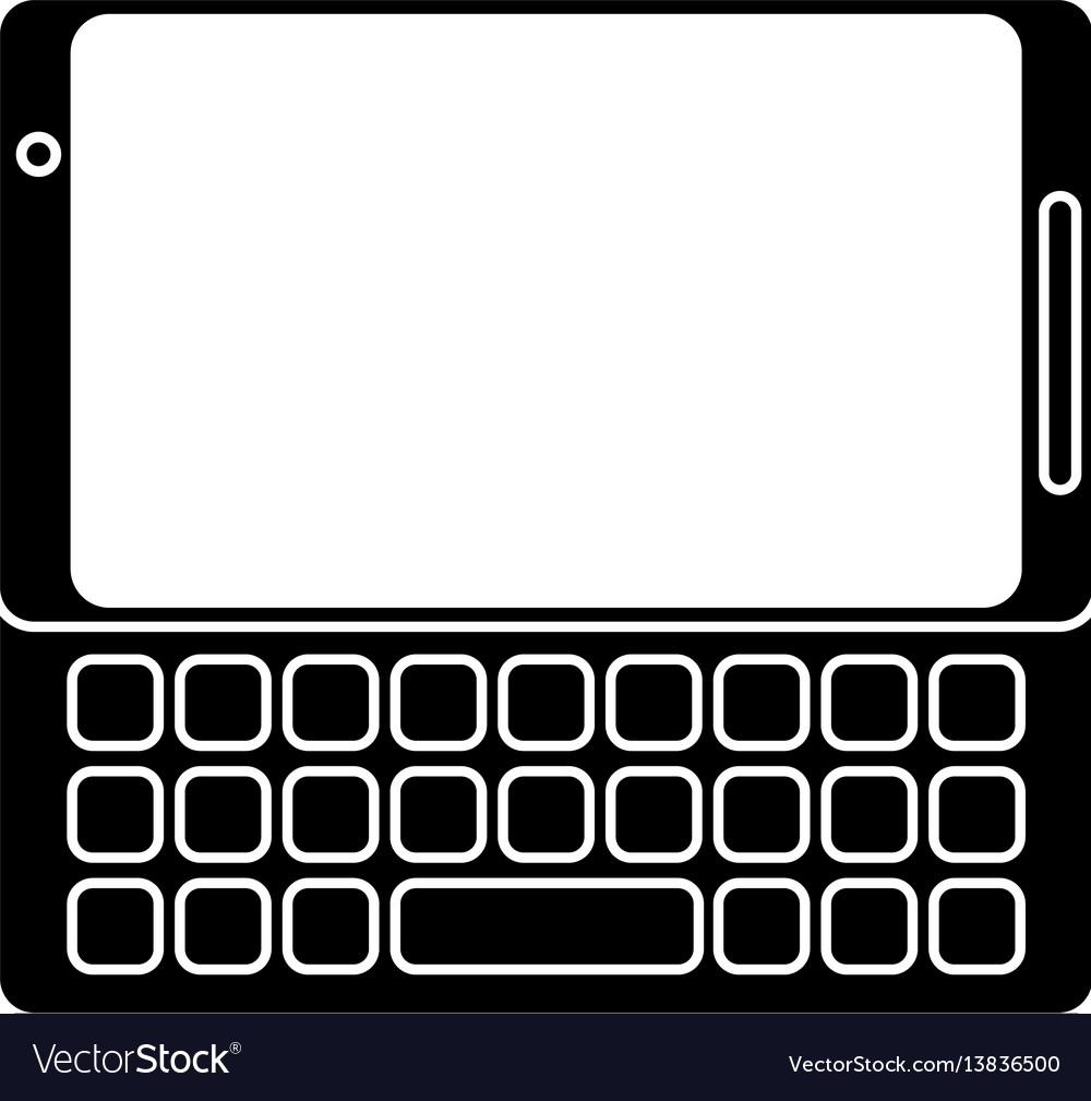 Smartphone mobile technology keyboard pictogram vector image