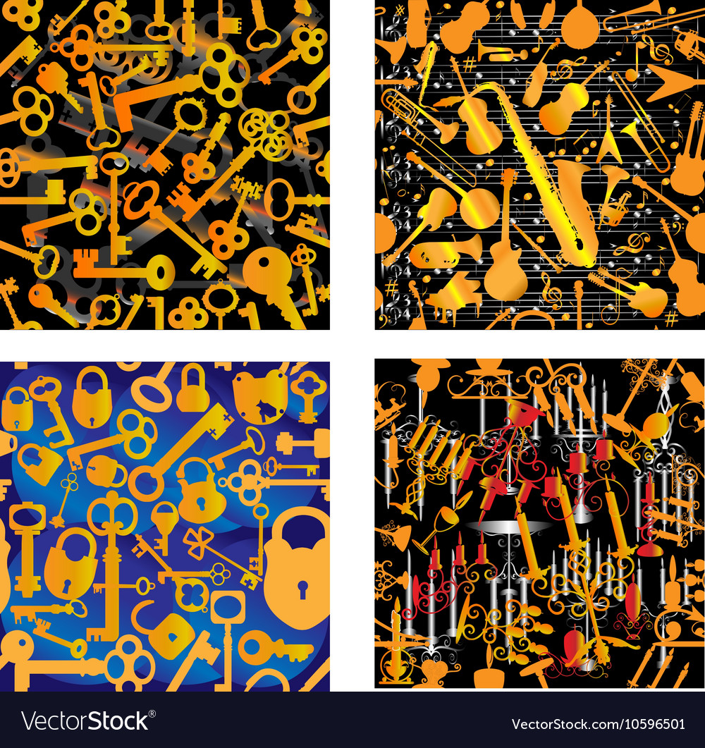 4 Seamless Patterns - Music Keys Locks Candles vector image