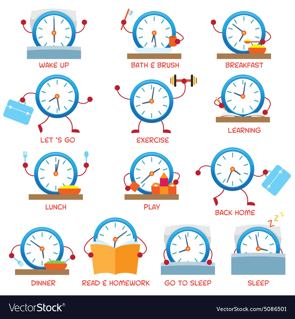 Clock Character Daily Routine timetable Royalty Free Vector