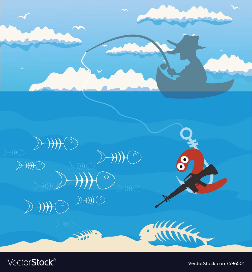 Fishing cartoon vector image