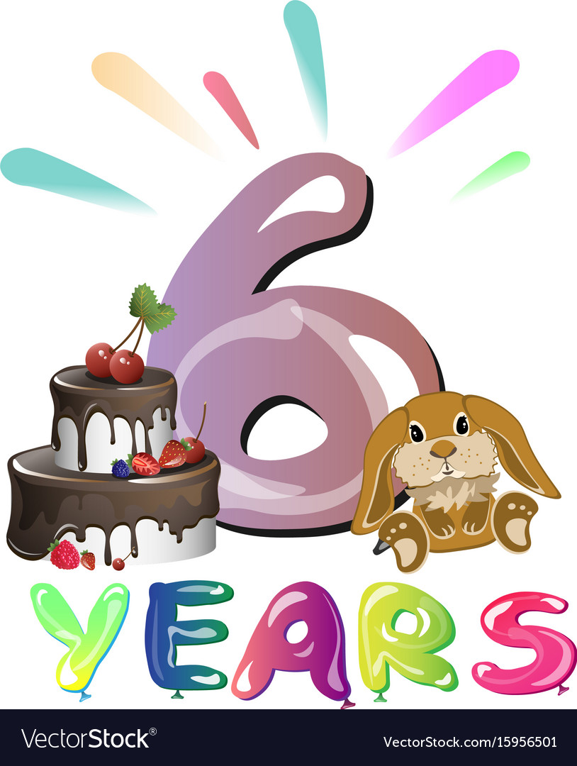 Sixth happy birthday congratulations with toys vector image