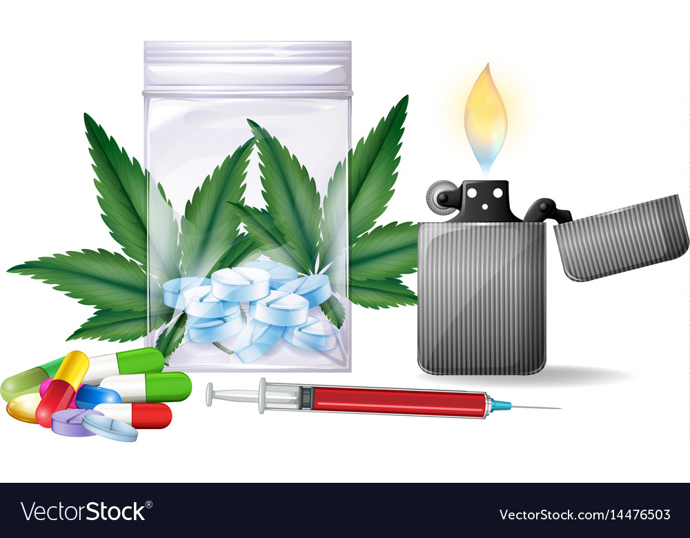 Different types of drugs vector image