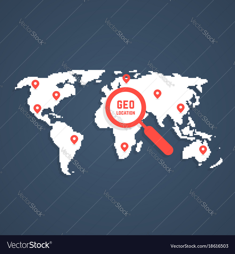 Geo location with pixel art world map royalty free vector geo location with pixel art world map vector image gumiabroncs Image collections